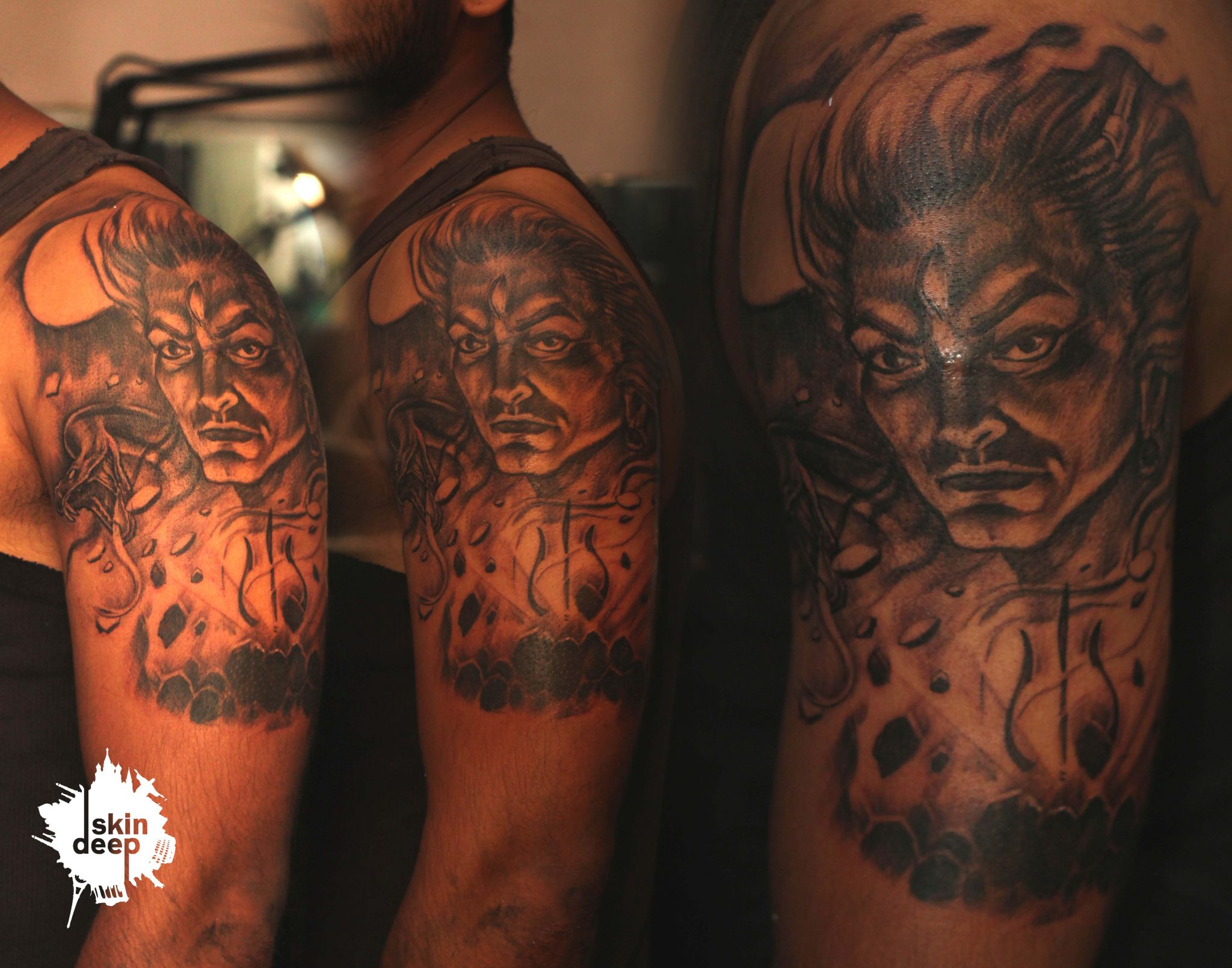 Grey Scale – Lord Shiva Tattoo