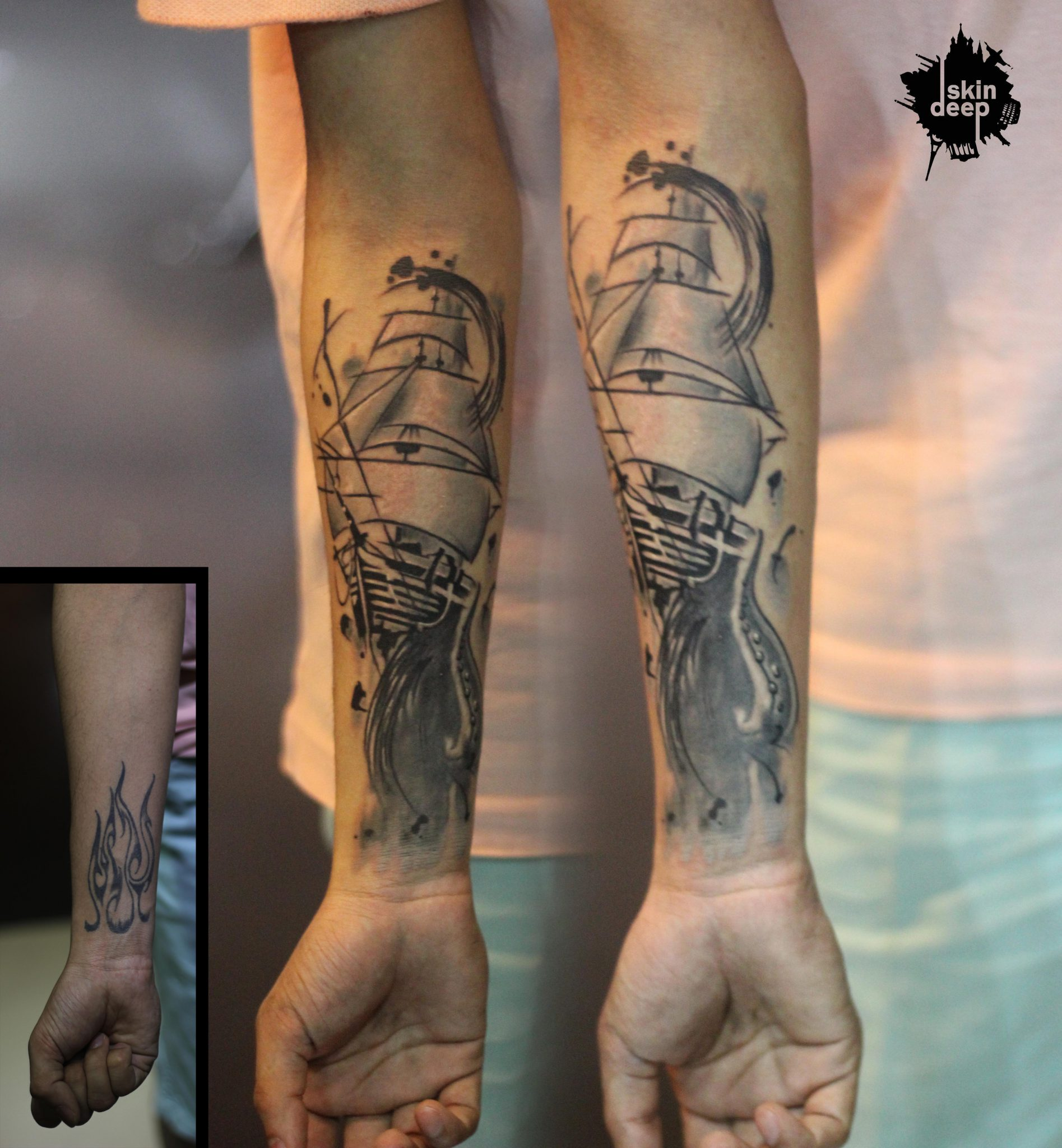 Cover Up Tattoo – Ship