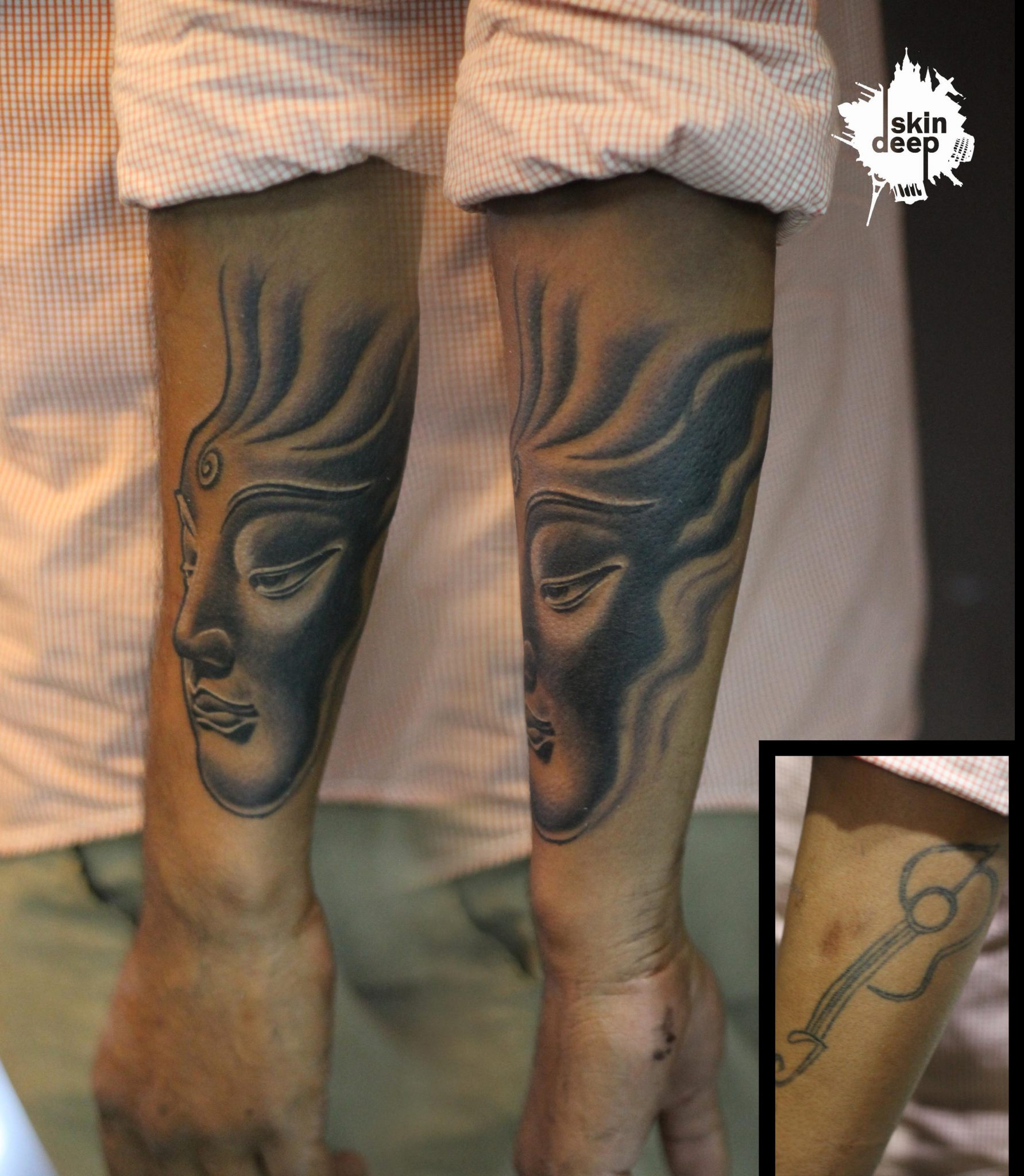 Cover Up Tattoo – Buddha Face